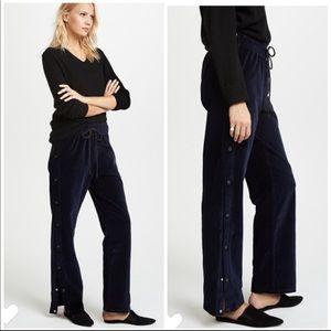 NEW $195 Hudson Aria Velvet Track Pants Navy Blue